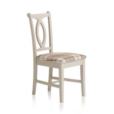 Arlette Painted Hardwood Check Brown Fabric Dining Chair