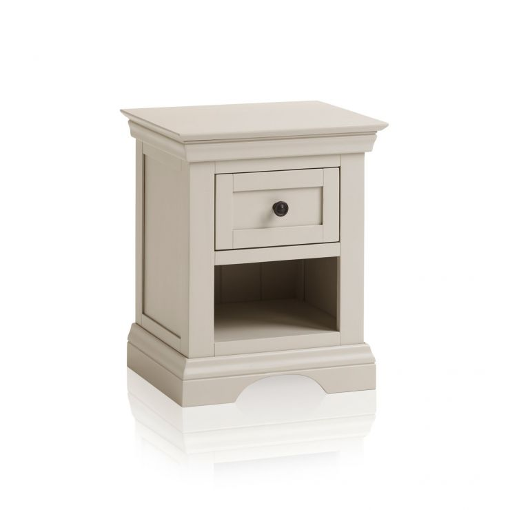 Arlette Grey 1 Drawer Bedside Table in Painted Hardwood
