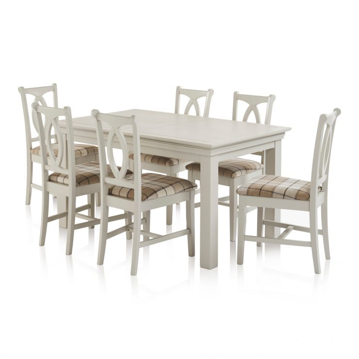 Arlette Painted Hardwood Dining Set - 5ft Extending Dining Table with 6 Check Brown Fabric Chairs - Image 1