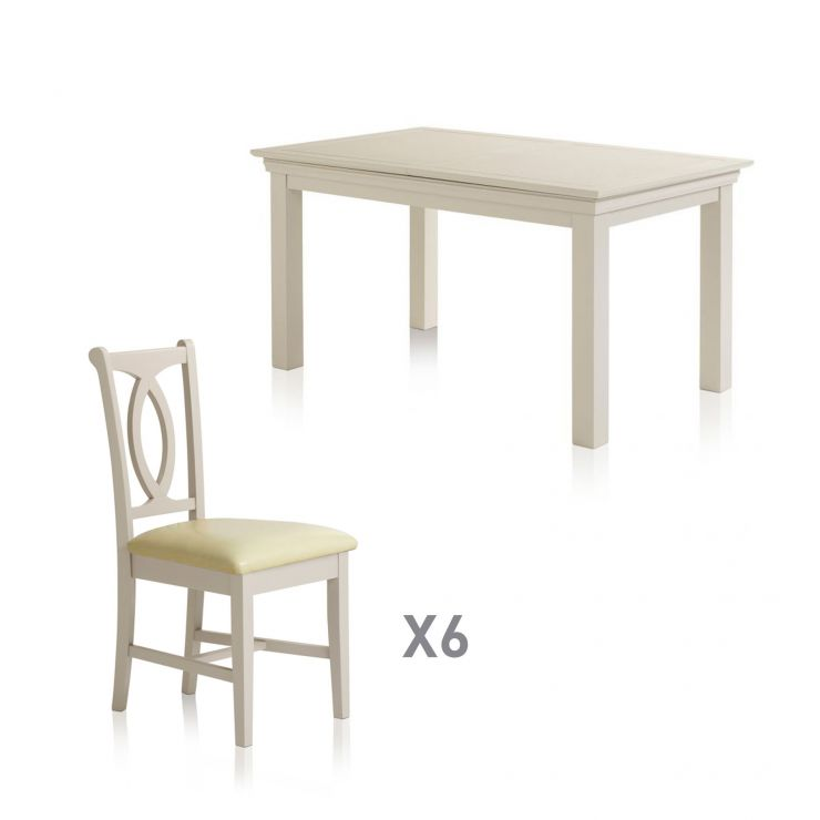 Arlette Painted Hardwood Dining Set - 5ft Extending Dining Table with 6 Cream Leather Chairs