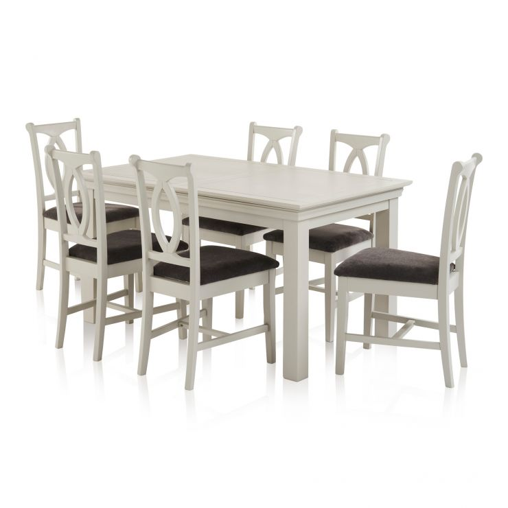 Arlette Painted Hardwood Dining Set - 5ft Extending Dining Table with 6 Plain Charcoal Fabric Chairs