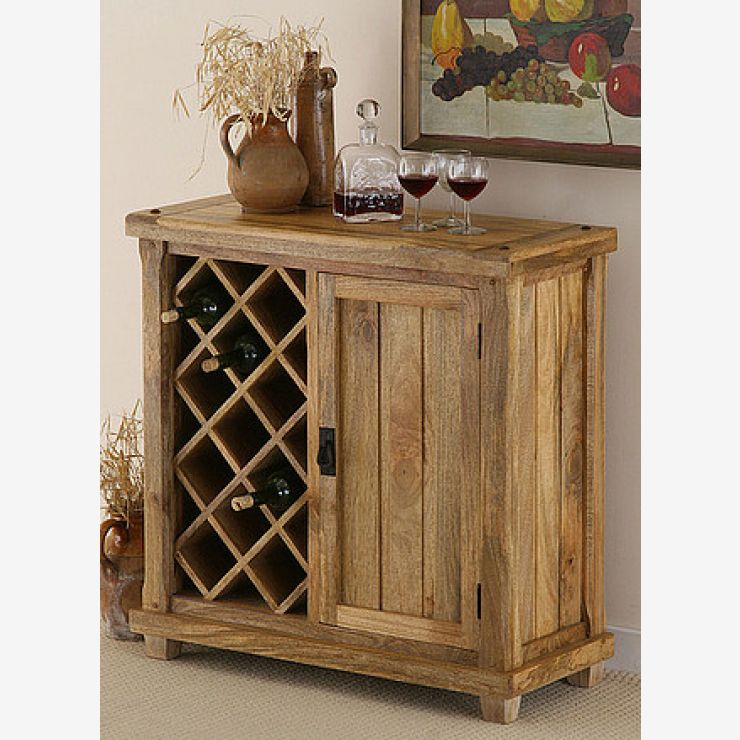 Baku Light Natural Solid Mango Wine Cabinet - Image 5