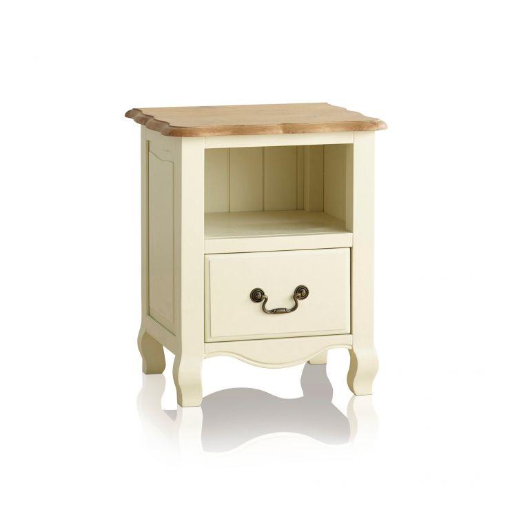 Bella Brushed Oak and Painted 1 Drawer Bedside Cabinet - Image 7