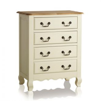 Bella Brushed Oak and Painted 4 Drawer Chest