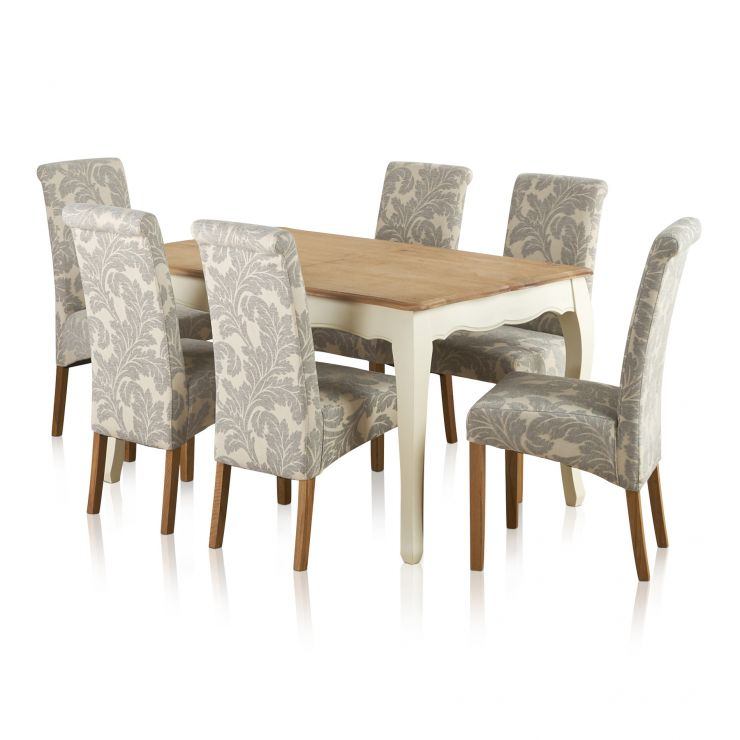 """Bella Brushed Oak and Painted 4ft 7"""" Extending Dining Table with 6 Scroll Back Patterned Grey Fabric Chairs - Image 6"""