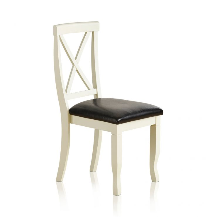 Bella Brushed Oak and Painted and Black Leather Dining Chair - Image 3