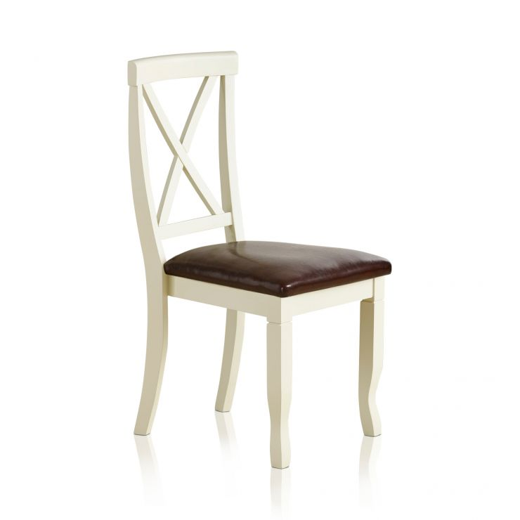 Bella Brushed Oak and Painted and Brown Leather Dining Chair - Image 4
