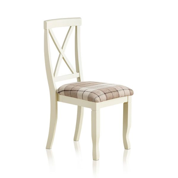 Bella Brushed Oak and Painted and Check Brown Fabric Chair
