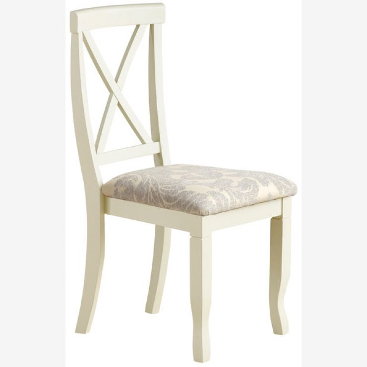 Bella Brushed Oak and Painted and Patterned Grey Fabric Dining Chair - Image 5