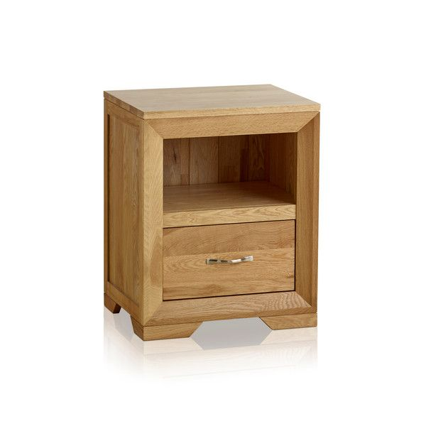 Bevel Natural Solid Oak Bedside Table