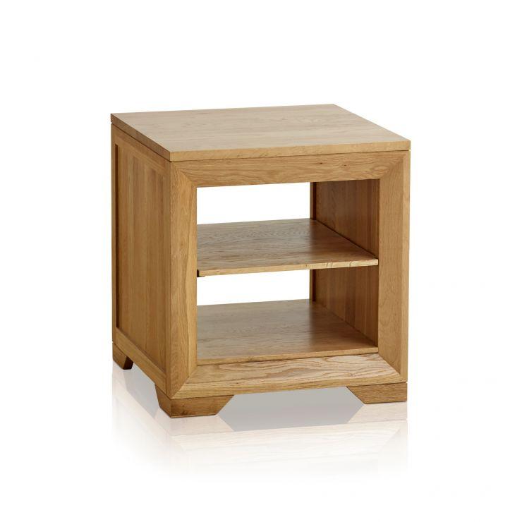 Bevel Natural Solid Oak Bedside Table with 1 Shelf - Image 5