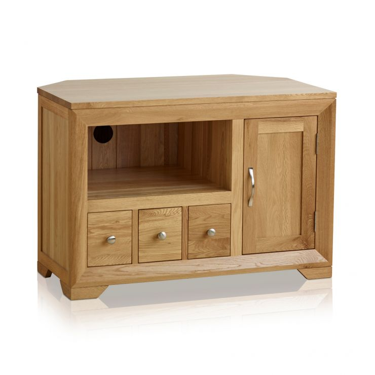Bevel Natural Solid Oak Corner TV Cabinet - Image 1