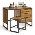 Brooklyn Natural Solid Oak and Metal Dressing Table - Thumbnail 5