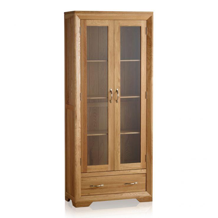 Bevel Natural Solid Oak Glazed Display Cabinet - Image 8