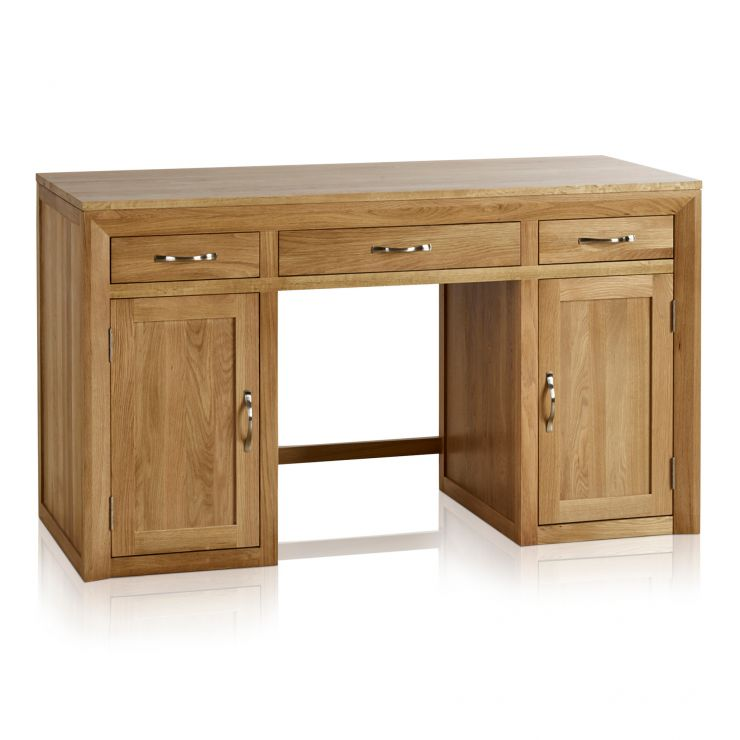 Bevel Natural Solid Oak Large Computer Desk - Image 1