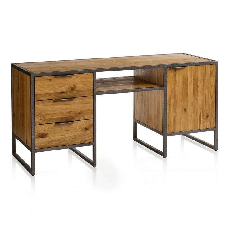 Brooklyn Natural Solid Oak and Metal Computer Desk