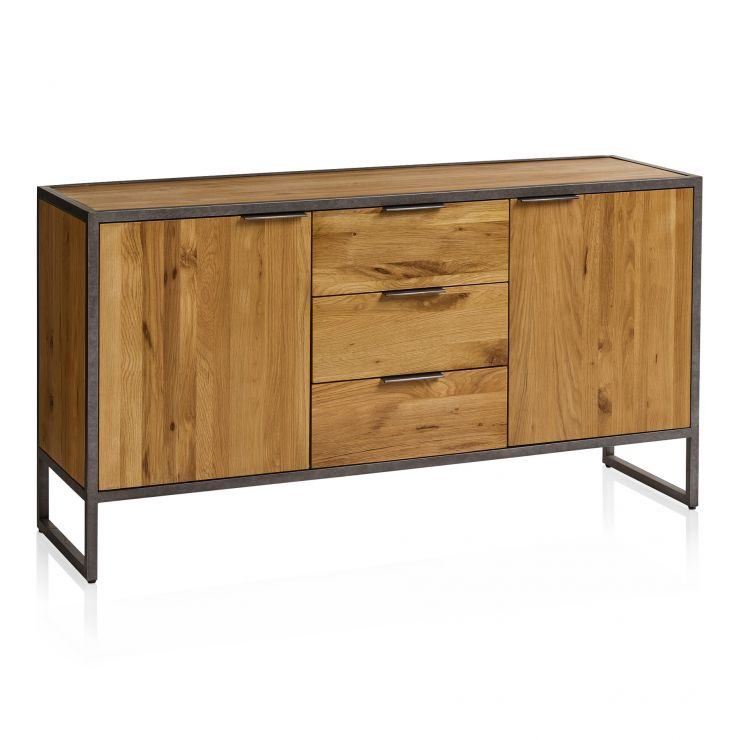Brooklyn Natural Solid Oak and Metal Large Sideboard
