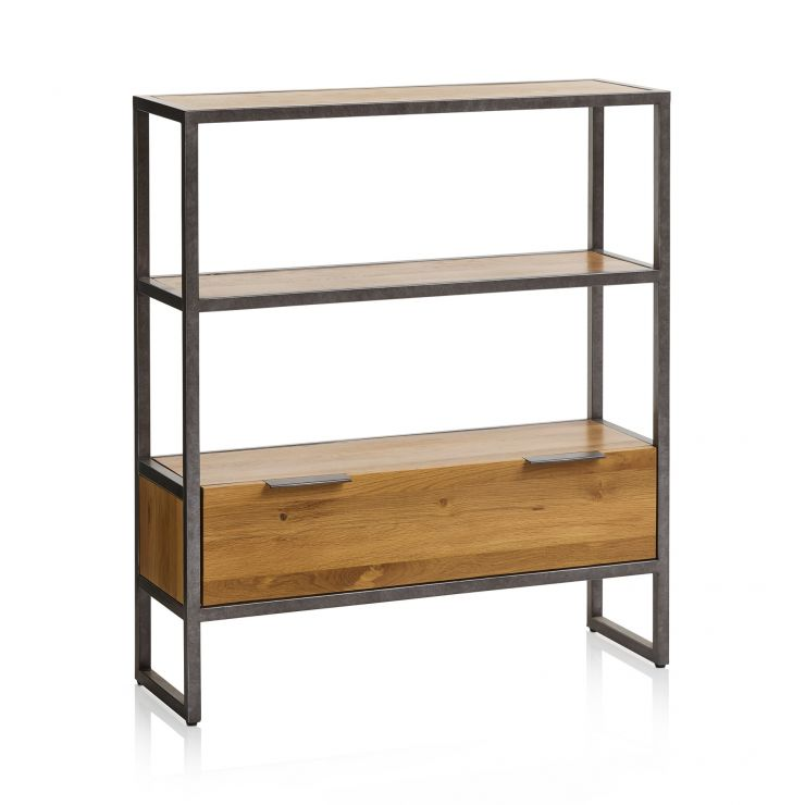 Brooklyn Natural Solid Oak and Metal Small Bookcase