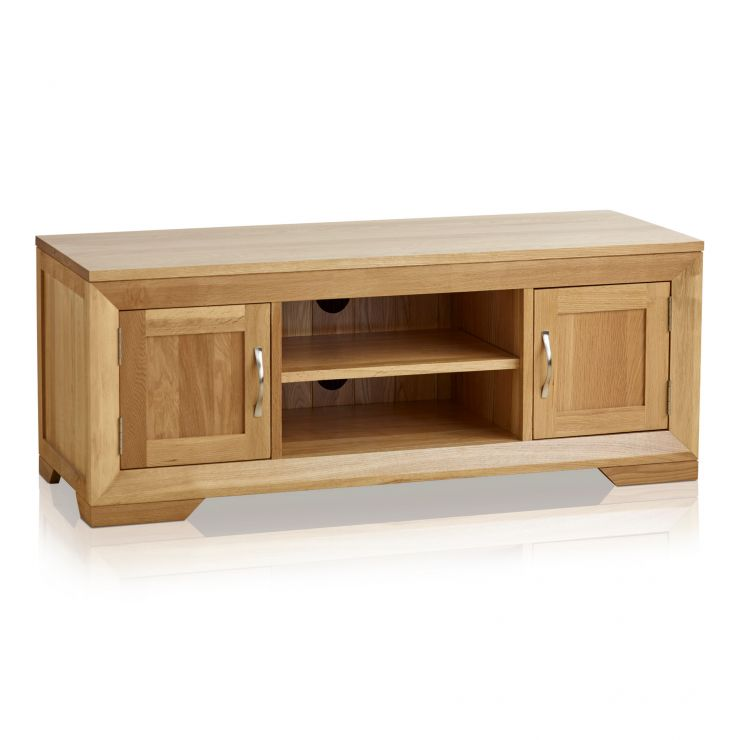 Bevel Natural Solid Oak Large TV Cabinet - Image 1