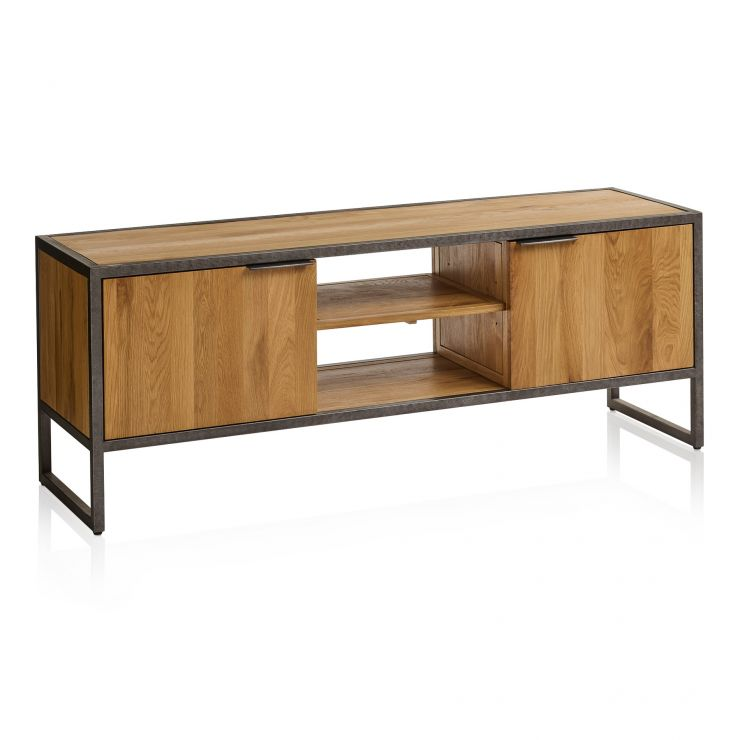 Brooklyn Natural Solid Oak and Metal Large TV Unit - Image 7
