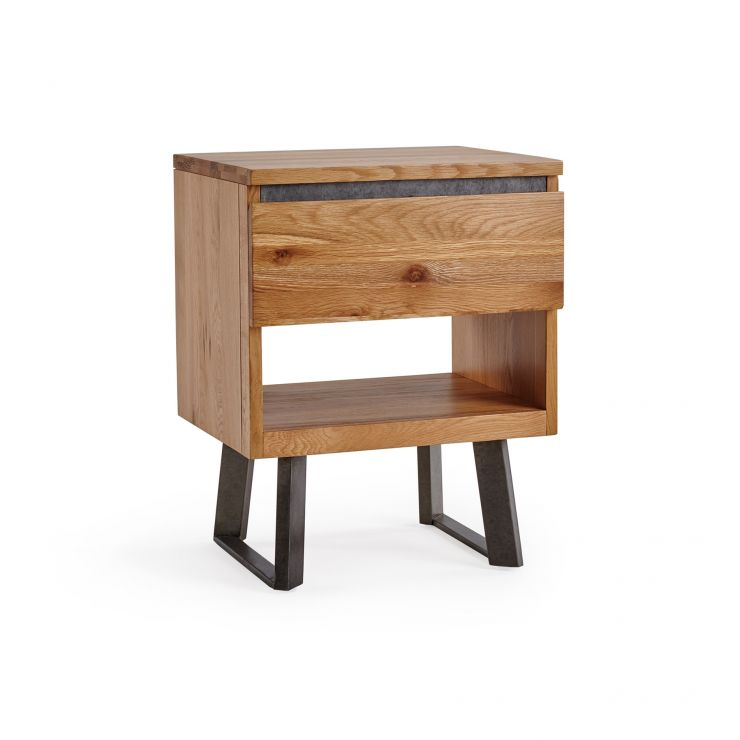 Boston Natural Solid Oak and Metal 1 Drawer Bedside Table