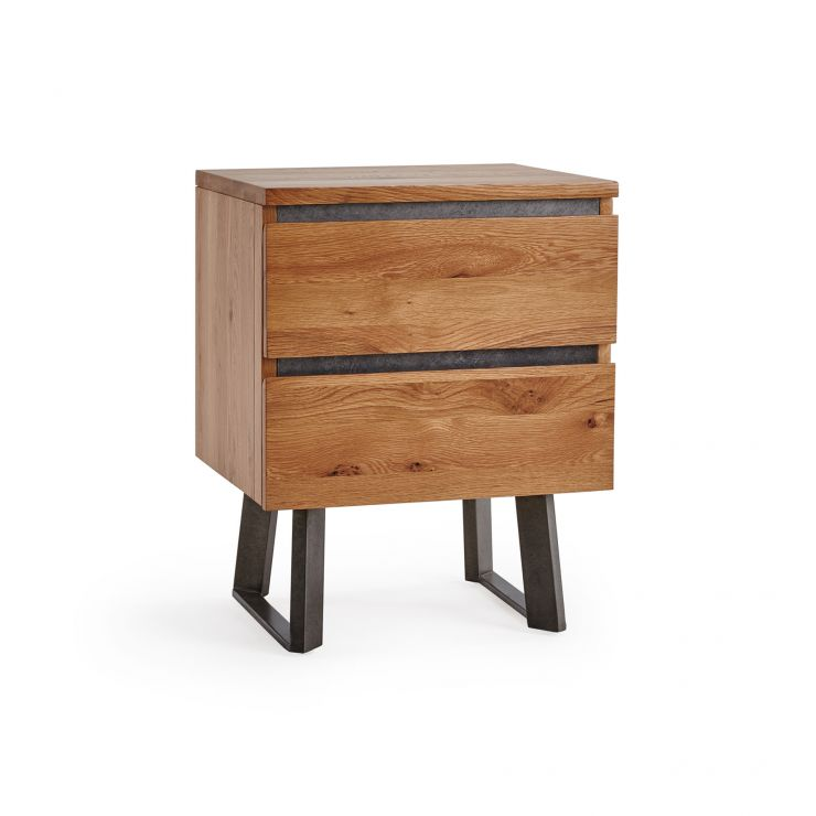 Boston Natural Solid Oak and Metal 2 Drawer Bedside Table