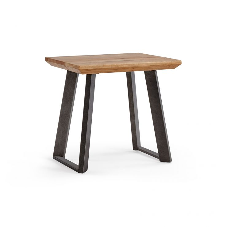 Boston Natural Solid Oak and Metal Dressing Stool