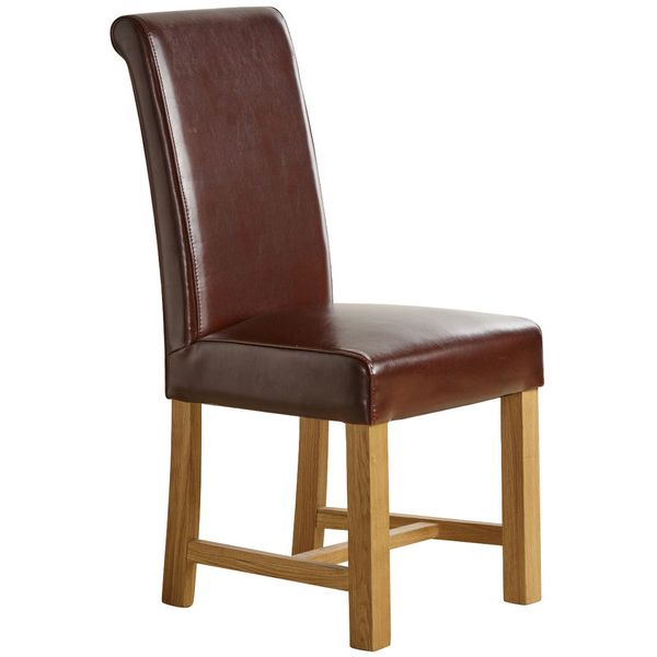 Braced Scroll Back Chair - Brown Leather with Solid Oak Legs
