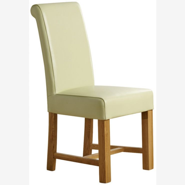 Braced Scroll Back Chair - Cream Leather with Solid Oak Legs  - Image 3