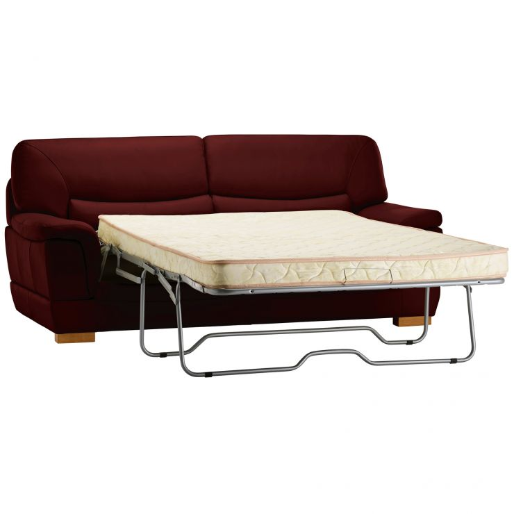 Brandon 3 Seater Sofa Bed with Deluxe Mattress - Burgundy Leather