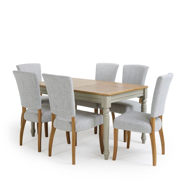 """Brindle Natural Oak and Painted 4ft 9"""" Extending Dining Table with 6 Chairs"""
