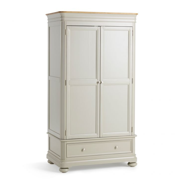 Brindle Natural Oak and Painted Double Wardrobe - Image 1