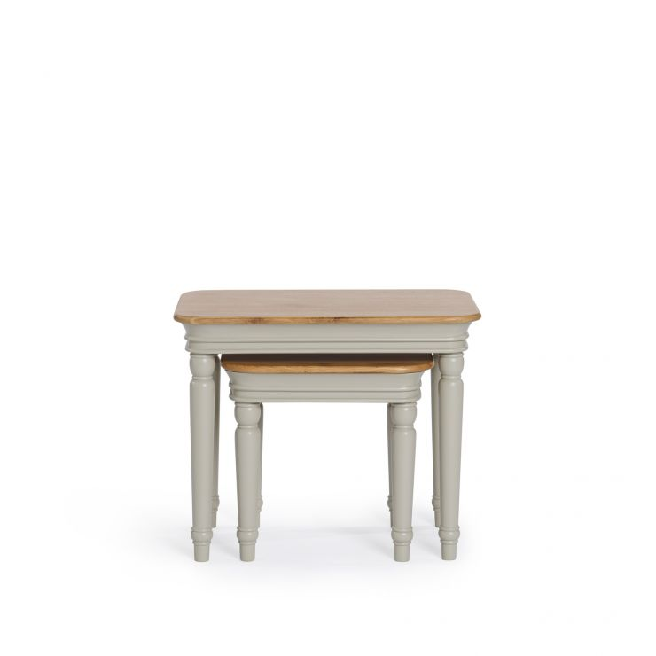 Brindle Natural Oak and Painted Nest of Tables