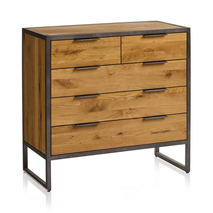 Brooklyn Natural Solid Oak and Metal 2+3 Chest of Drawers - Image 1