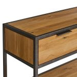 Brooklyn Natural Solid Oak and Metal Console Table - Thumbnail 6