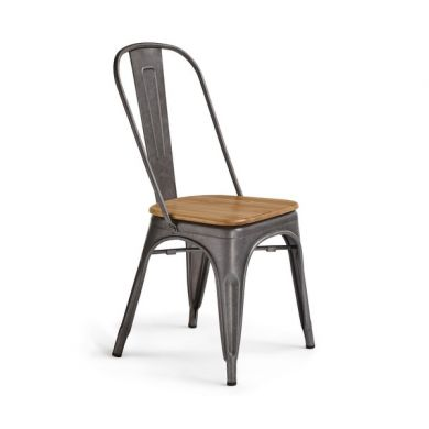 Brooklyn Natural Solid Oak and Metal Dining Chair