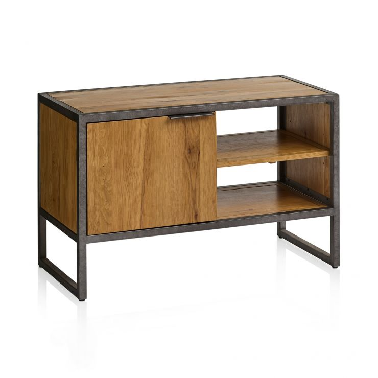 Brooklyn Natural Solid Oak and Metal Small TV Unit - Image 1