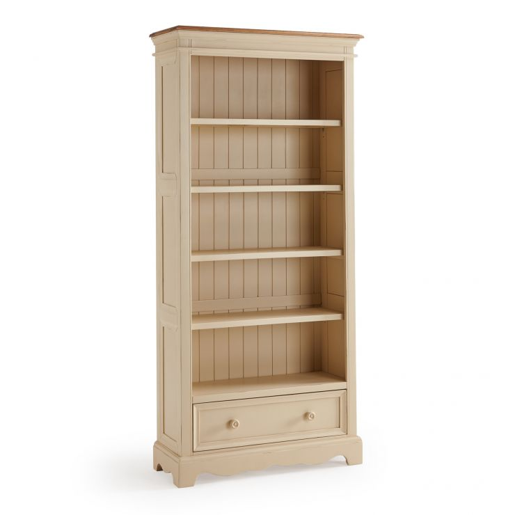 Burford Rustic Solid Oak and Distressed Paint Finish Tall Bookcase