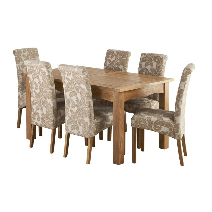 Cairo Natural Solid Oak Dining Set - 5ft Extending Table with 6 Scroll Back Patterned Beige Chairs - Image 8