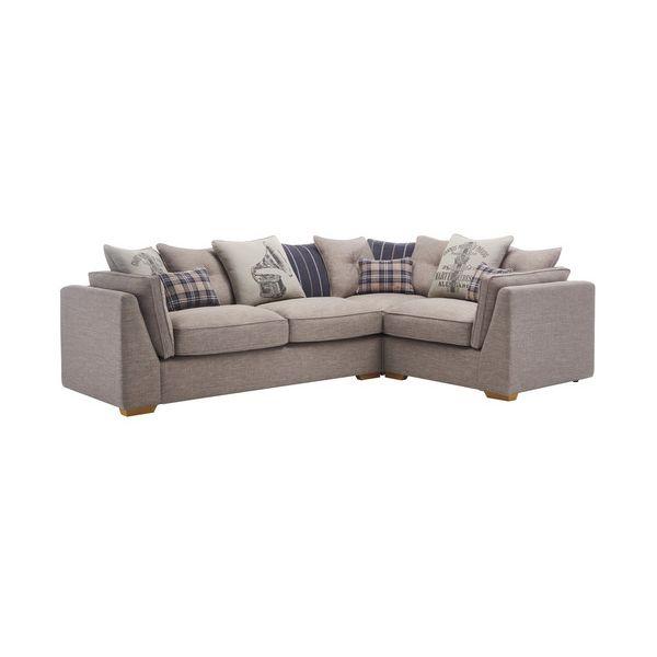 California Left Hand Pillow Back Corner Sofa in Civic Smoke