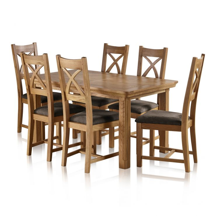 Canterbury Natural Solid Oak Dining Set - 5ft Extending Table+6 Cross Back with Plain Charcoal Pads