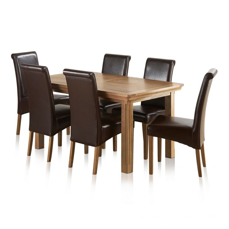 Canterbury Natural Solid Oak Dining Set - 5ft Extending Table + 6 Brown Leather Scroll Back Chairs - Image 9