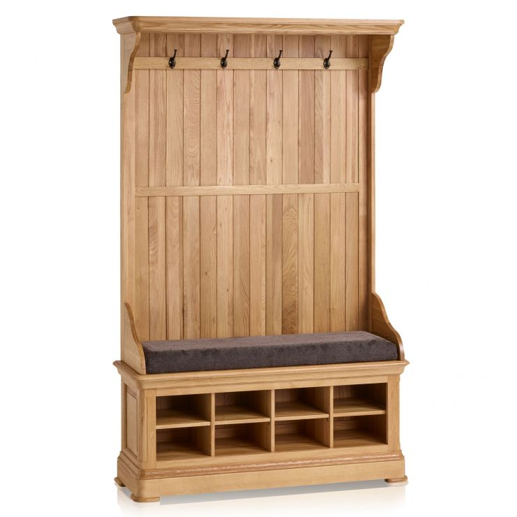 Canterbury Natural Solid Oak Hallway Unit with Plain Charcoal Fabric Hallway Pad