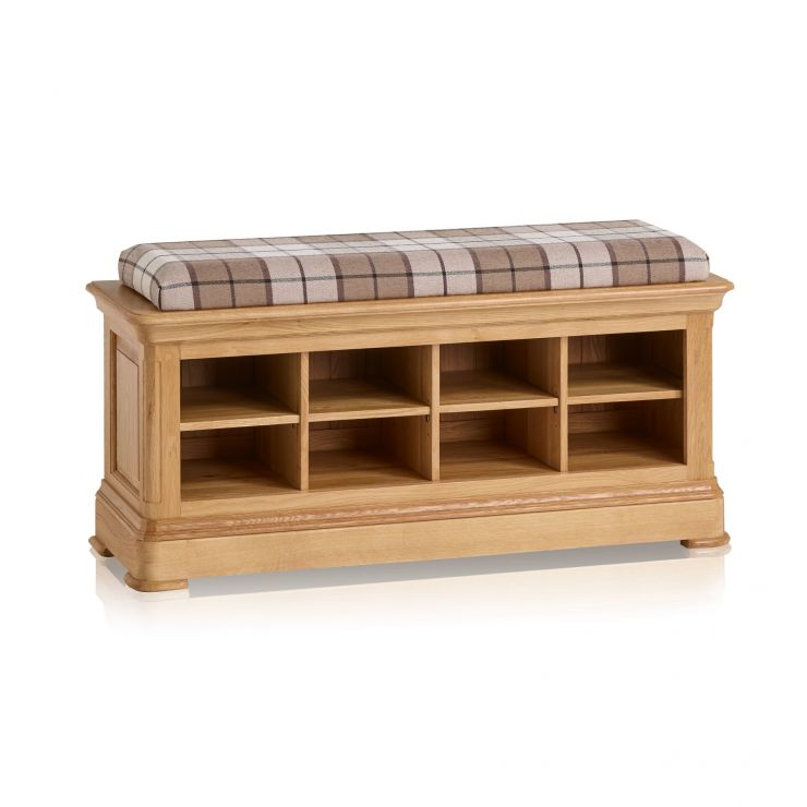 Canterbury Natural Solid Oak Shoe Storage with Check Brown Fabric Hallway Pad