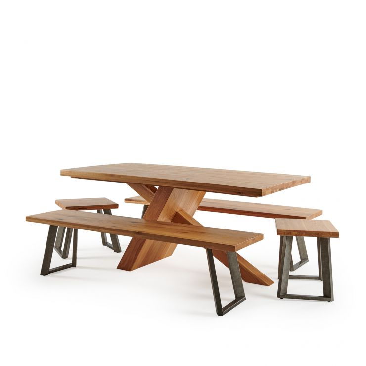 Cantilever Natural Solid Oak Table with 2 Natural Oak and Metal Benches and Stools