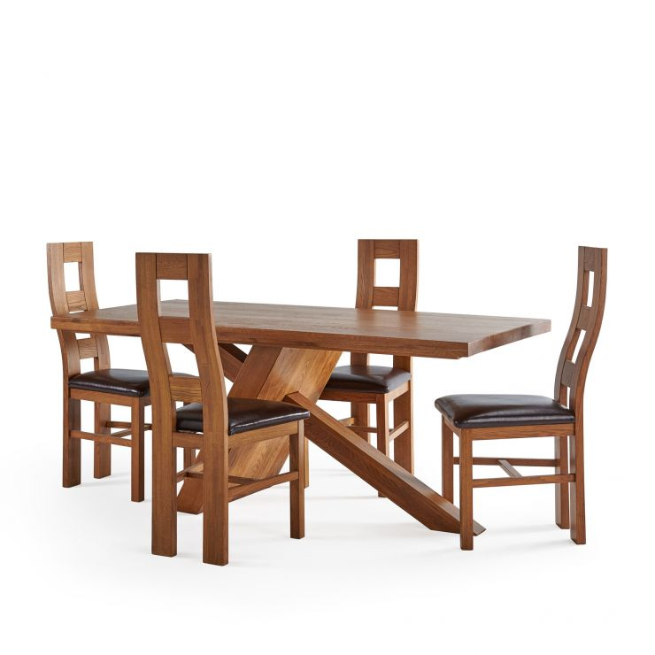 Cantilever Rustic Solid Oak Table with 4 Wave Back Rustic Oak and Brown Leather Chairs
