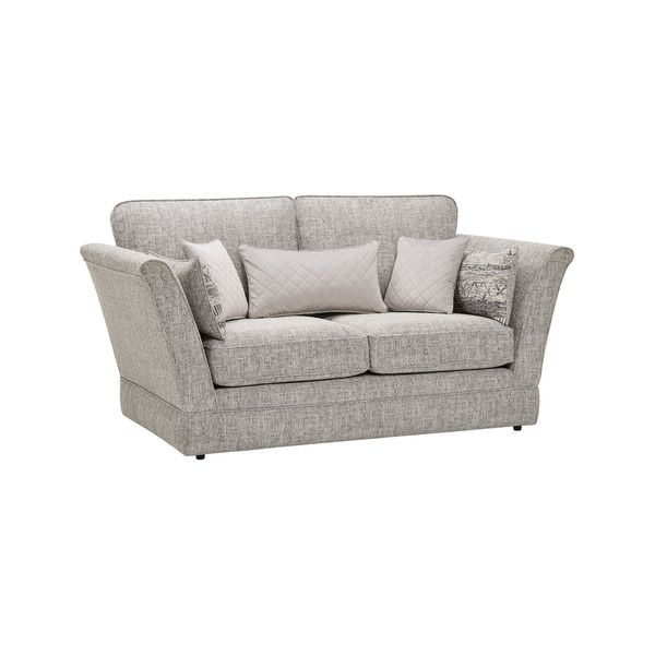 Carrington 2 Seater High Back Sofa in Breathless Fabric - Silver