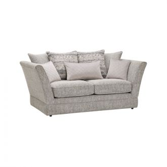 Carrington 2 Seater Pillow Back Sofa in Breathless Fabric - Silver