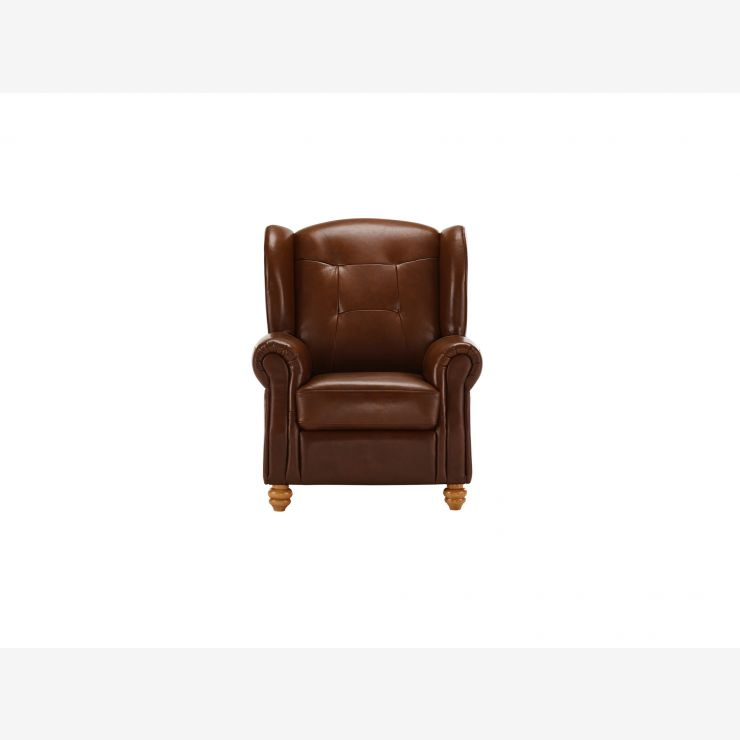 Carson Wing Armchair - Light Brown Leather - Image 2