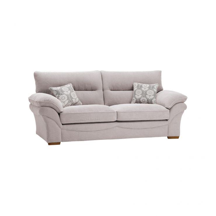 Chloe 3 Seater Sofa High Back in Dynasty Fabric - Silver - Image 5